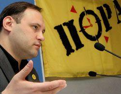 Владислав Каскив на пресс-конференции  в УНИАН объявил о своей отставке с должности председателя политсовета партии ПОРА. Киев, 18 мая