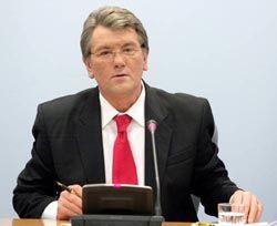 Президент Украины Виктор Ющенко обращается к журналистам, 5 февраля