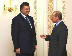 Виктор Янукович и Владимир Путин во время официальной встречи в Москве, 21 июня 2007 г. В этот день начался двухдневный визит Януковича в Российскую Федерацию