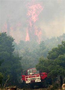 Пожежна команда на гасінні спричиненої спекою лісової пожежі на захід від Афін, Греція. (Фото Reuters)
