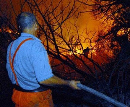 Пожежники за роботою поблизу с. Аччіано в центральній Італії. (AP Photo)