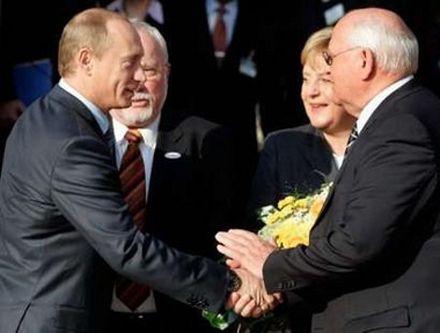 Владимир Путин, Лотар де Мезьер, Ангела Меркель, Михаил Горбачев. 15 октября, Висбаден (Германия). Фото Reuters