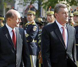 Траян Бесеску и Виктор Ющенко во время официального визита Президента Украины в Румынию. Бухарест, 30 октября