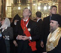 Віктор Ющенко з дружиною Катериною під час відвідання Храму Гробу Господнього. Єрусалим, 15 листопада
