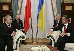 Віктор Ющенко і Лєх Качинський під час офіційної зустрічі в Києві. 6 грудня