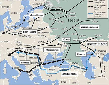 На этой схеме проект Nabucco начинается в Казахстане...