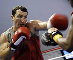IBF and IBO heavyweight champion Volodymyr Klitschko during the training. Miami, February 6
