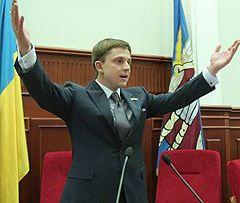 Олесь Довгий веде засідання Київради. Київ, 1 липня