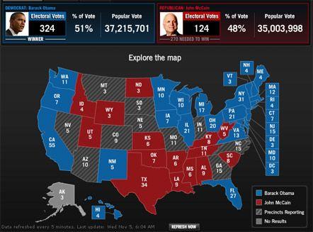Синій - Обама, червоний - Маккейн, смужка - триває підрахунок