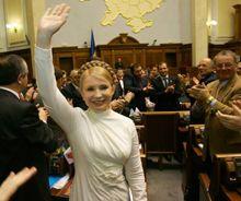 Юлія Тимошенко після обрання на посаду прем'єр-міністра в залі засідань ВР. 18 грудня 2007