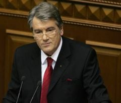 Yushchenko making annual address about internal and external position of Ukraine in the Verkhovna Rada. Kyiv, March 31