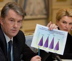 Віктор Ющенко демонструє діаграму, з якої видно, що смертність від грипу і пневмонії  у 2009 р. є найнижчою за останні чотири роки. Київ, 9 листопада