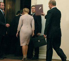 Юлія Тимошенко і Володимир Путін після закінчення спільної пресс-конференції за підсумками двосторонніх переговорів. Ялта, 19 листопада