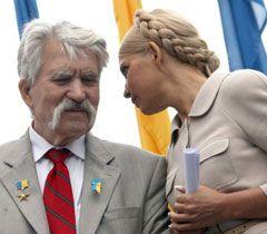 Левко Лук`яненко і Юлія Тимошенко під час опозиційного мітингу. 7 вересня
