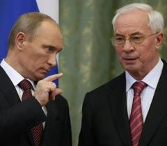 Володимир Путін і Микола Азаров під час зустрічі в Києві