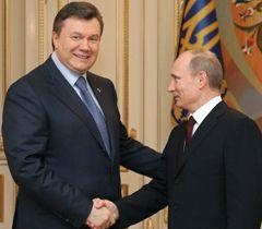 Виктор Янукович и Владимир Путин во время встречи в Киеве. 12 апреля