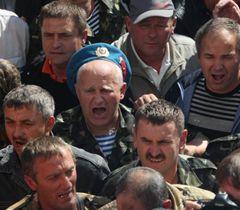 Бывшие воины-афганцы во время акции протеста против сокращения льгот для 16 категорий граждан. Киев, 20 сентября