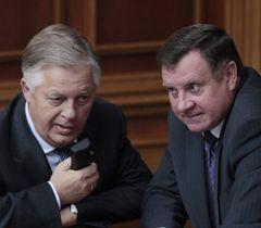 Петр Симоненко и Адам Мартынюк перед началом заседания Верховной Рады. Киев, 5 октября