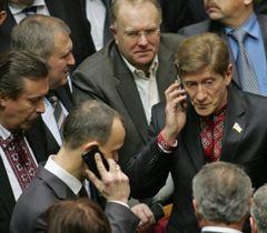 Роман Забзалюк среди своих однопартийцев в зале заседаний ВР. Киев, 8 февраля