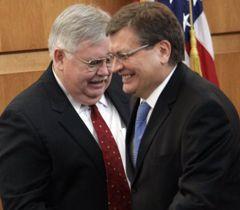 Джон Теффт и Константин Грищенко на открытии нового здания Посольства США. Киев, 29 февраля
