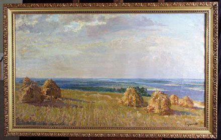 Фото № 1. «Дніпровські далі». Знімок зроблено перед передачею картини до Кабміну у 2001 році