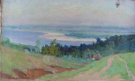 """Фото №1. """"Село біля річки"""". Знімок зроблено перед передачею картини до Кабміну у 2001 році"""