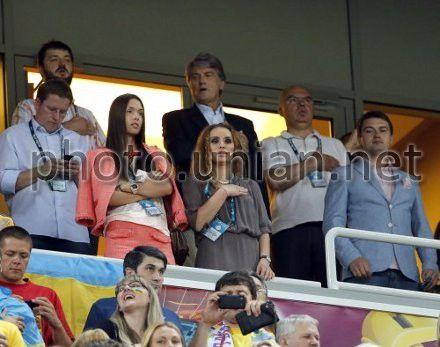 Экс-президент Украины Виктор Ющенко, его сын Андрей с супругой Елизаветой и дочь Виталина