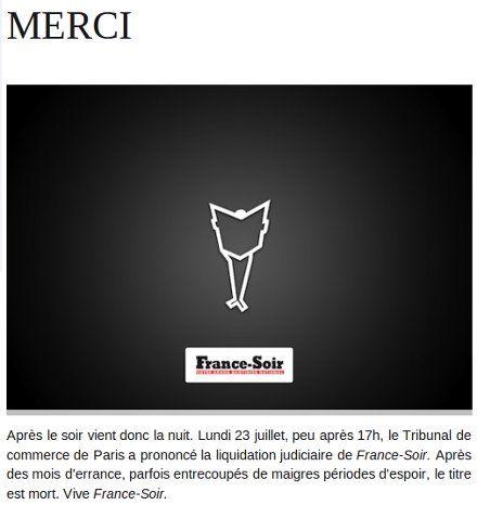 Прощание с читателями на сайте France Soir