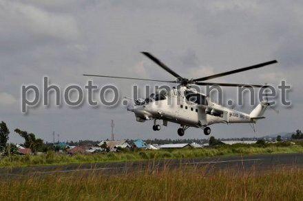 Вертолет Ми-24 из состава 18-го отдельного вертолетного отряда Вооруженных сил Украины миссии ООН в Конго