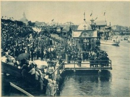 Прибытие крестного хода к месту водосвятного молебена. Киев, 15 июля 1888 год.