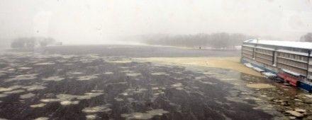Течение несет по Днепру эту желтую воду к берегам Гидропарка / Фото: Комментарии