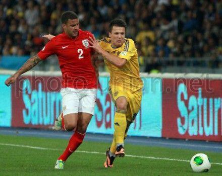Украина-Англия. Евгений Коноплянка и Кайл Уокер
