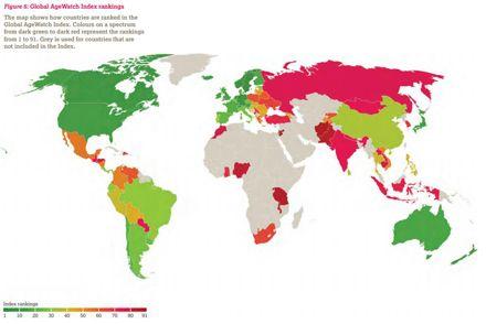 Цвета диапазоне от темно-зеленого до темно-красного представляют рейтинги от 1 до 91.
