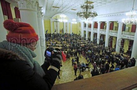 Мітингувальники в будівлі КМДА