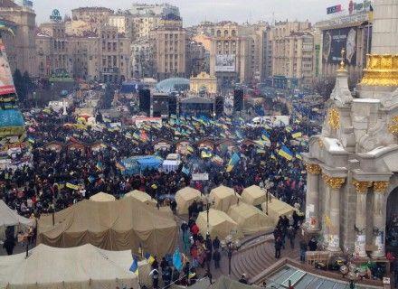 Майдан перед началом акции 15 декабря / Фото: Твиттер @ MaloverjanBBC