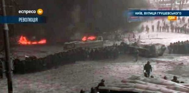 APC is brought at Hrushevskogo Street/Screenshot  Espreso.TV