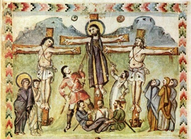 Евангелие Рабулы, 586 г. Одно из самых ранних изображений сцены распятия.