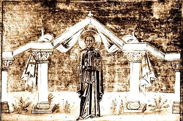 Прп. Иоанн Кущник. Миниатюра 1-я четв. XI в.