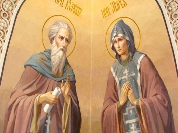 Святые преподобные Кирилл и Мария.  Роспись Вознесенского храма на Гродке (Павлов-Посад)