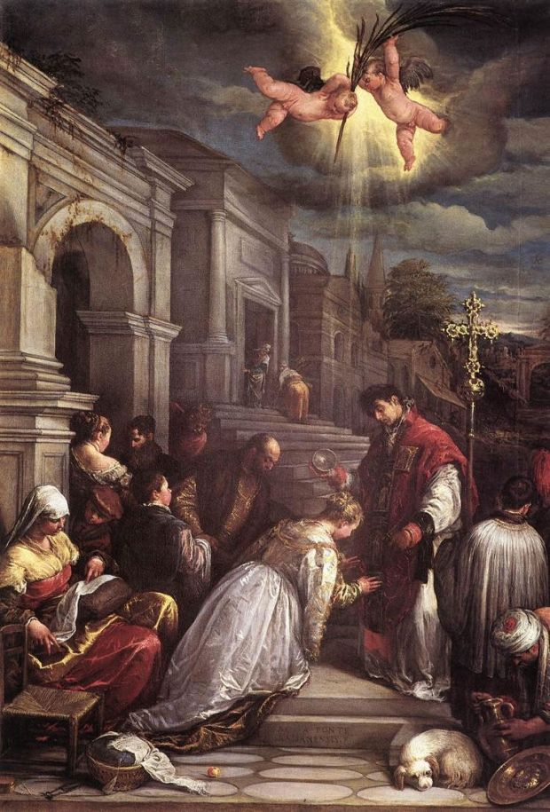 Джакопо Боссано. Св. Валентин крестит св. Люсиллу. 1575 г.