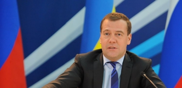 Prime Minister of Russia Medvedev arrives in Crimea