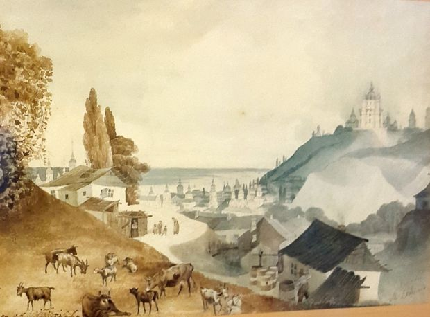 Вид Подолу з Щекавиці. Сажин М. 1840-і р.