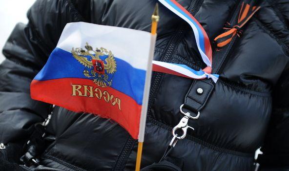 Сепаратистская символика прибыла в посольство Российской Федерации в Киеве / Фото: Latvijas Mediji