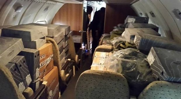 "Avakov carries uniform for ""Omega"" in Slaviansk by plane/Photo: Facebook Avakov"
