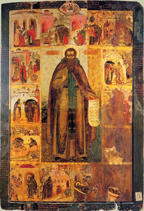 Преподобный Феодосий Печерский с житием (XVII век, Государственный Русский музей)