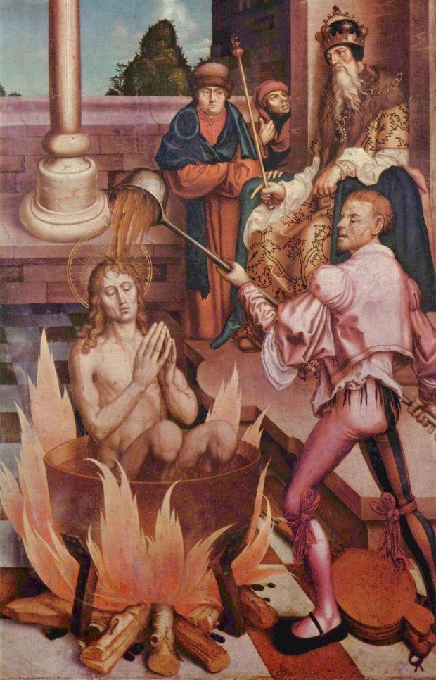Иоанн Богослов в кипящем масле. Ханс Фрис, 1514 год.