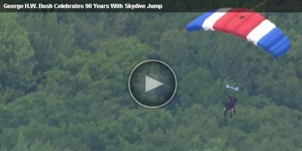 Буш прыгнул с парашютом