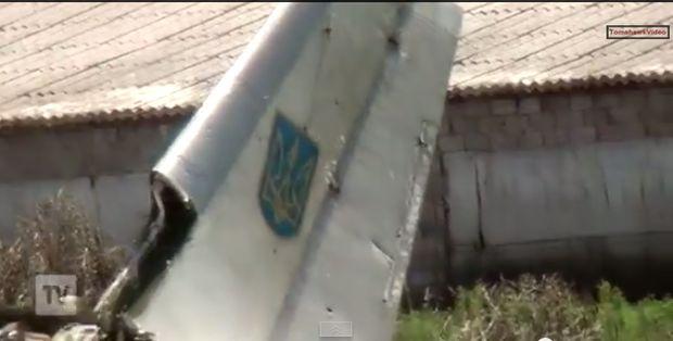 скриншот видеоролика, на котором запечатлено падение украинского самолета
