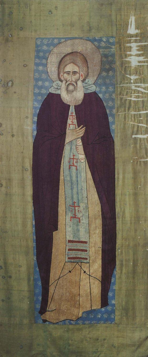 Преподобный Сергий Радонежский. Шитый покров, 1420-е годы. Ризница Троице - Сергиевой Лавры