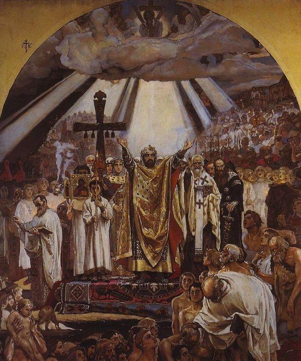 «Крещение Руси». Фреска работы В. М. Васнецова в киевском Владимирском соборе. 1896